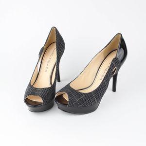"Marc Fisher Womens Shoes Plaid Peep Toe 4.5"" Heels"